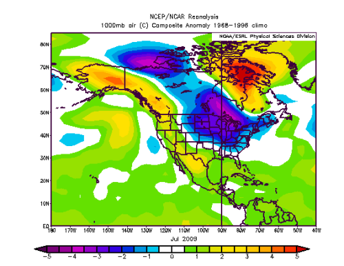 Temperature anomalies for North America in July 2009
