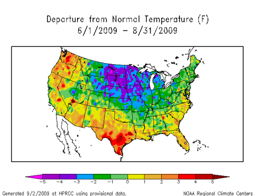 Temperature departures from normal from June 1, 2009 through August 31, 2009