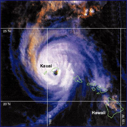 NOAA image of Iniki as it made landfall on Kauai