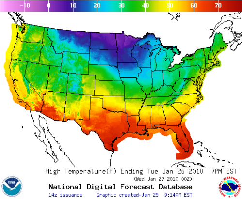 NOAA high temperature forecast map for January 25, 2010