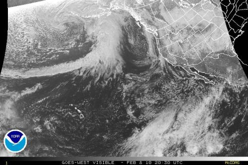 NOAA Eastern Pacific satellite image from Feb 8, 2010