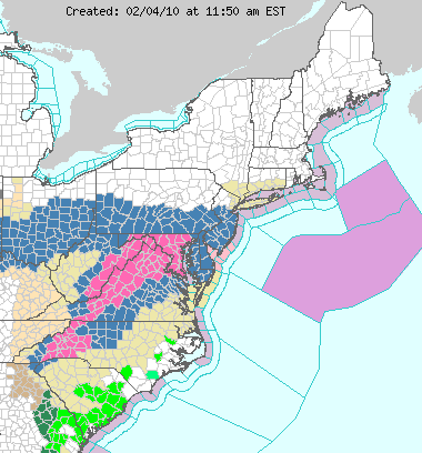 Eastern U.S. weather warnings on February 4, 2010; image courtesy of NOAA