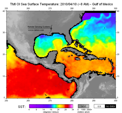 April 2010 sea surface temperatures in Gulf of Mexico