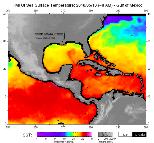 Sea surface temperatures in the Gulf of Mexico on May 10, 2010