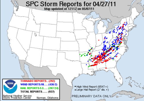 Severe Weather Reports for April 27, 2011