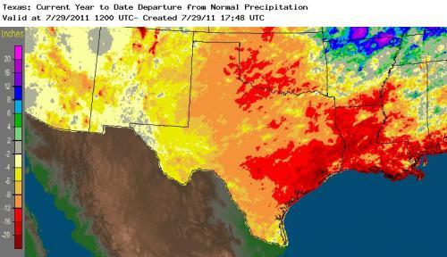 Texas rainfall deficit map