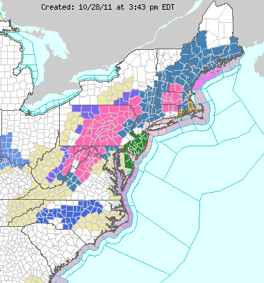 NOAA watches and warnings map