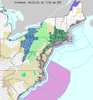 national weather service watches and warnings on April 21, 2012